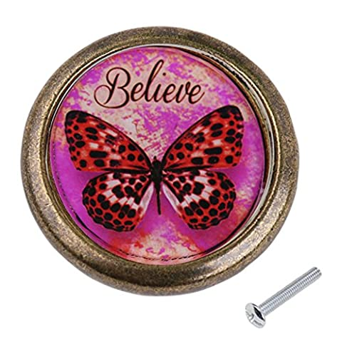 MagiDeal Antique Brass Cabinet Drawer Round Pulls Cupboard Knob Handle Red Butterfly Pattern