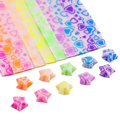 ark Süße Origami-Stern-Papierstreifen, Glücksstern, 7 Farben, 210 Blatt herz ()
