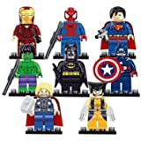 Your's Choice Ajuste de 8pcs novedad Vengadores superhéroes Batman Thor Hulk Mini figuras de Lego juguetes C