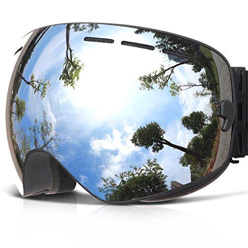 Skibrille ,COPOZZ G1 Ski Snowboard Brille Brillenträger Schneebrille Snowboardbrille Verspiegelt - Für Damen Herren Frauen Jungen - Mit Sehstärke OTG UV-Schutz Anti-Fog Silber (Frauen Handschuhe Tasche)