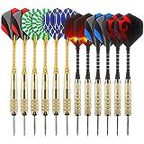 Awroutdoor Freccette Professionali Punta Plastica 18g, Set di 12 Freccette Morbide per Bersaglio Elettronico con 24 Freccette Voli e 12 Punte Morbide di Freccette