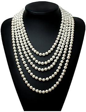 Babeyond ART DECO Art und Weisefaux-Perlen-Prallplatten-Korn-Block-lange Perlen-Halskette 118