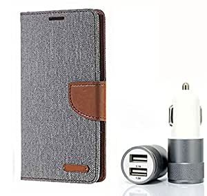 Aart Fancy Wallet Dairy Jeans Flip Case Cover for MicromaxQ380 (Grey) + Dual USB Port Car Charger with Smartest & Fastest Technology by Aart Store.