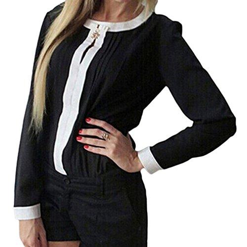 Smile YKK Vogue Col Rond Femme T-shirt Plissé à Manche Longue en Chiffon Noir