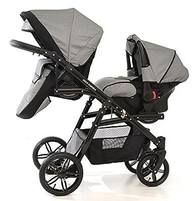 Zwillingswagen. 1 x Buggy, 1 x Babywanne, 1 x Babyschale