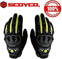 Scoyco MC29 Bike Riding Gloves Set of 1 Black and Neon Size-XL