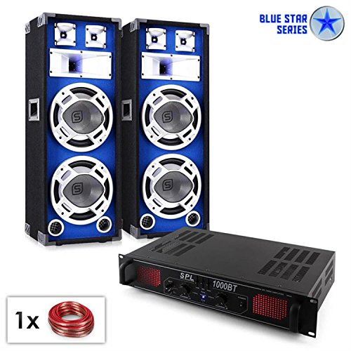 PA Set Blue Star Series Basssound Bluetooth 1000W Party Lautsprecher & Verstärker Set (Bluetooth, USB-SD-Slot, Boxen mit LED-Lichteffekt, Radio, inkl. 10m Lautsprecherkabel) - 25 Blue-serie Subwoofer-kabel