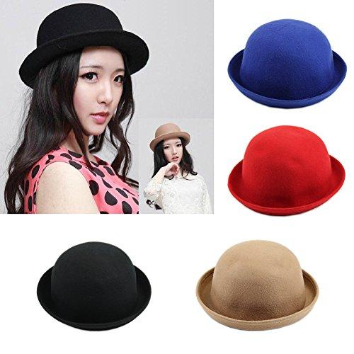 Manyo Manyo Vintage Vogue Damen Damen Herren Unisex Vintage Wolle Bowler Derby Hut Mütze