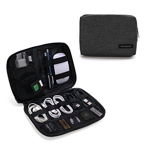 BAGSMART Elektronische Tasche, Elektronik Organizer Reise für Handy Ladekabel, Powerbank, USB Sticks, SD Karten (Schwarz) Gadget Tasche