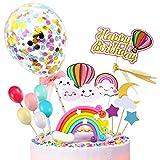 iZoeL Decorazione Torta Palloncino Arcobaleno Topper Torte Happy Birthday Banner Ragazze Bambina