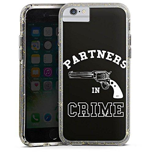 Apple iPhone 8 Bumper Hülle Bumper Case Glitzer Hülle Pistole Partner Friendship Bumper Case Glitzer gold