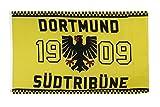 Fahne / Flagge Dortmund 1909 Adler Südtribüne + gratis Sticker, Flaggenfritze®