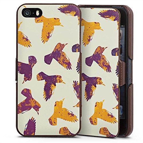 Apple iPhone 5s Lederhülle Handyhülle mit Klappe Klappfunktion Flip Case Voegel Birds Raben (Raben Garn)