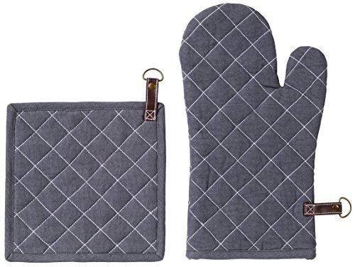 Exner Strong Collection Exner Maniques + Gant de four Set de 100% coton avec coutures, Coton, graphite