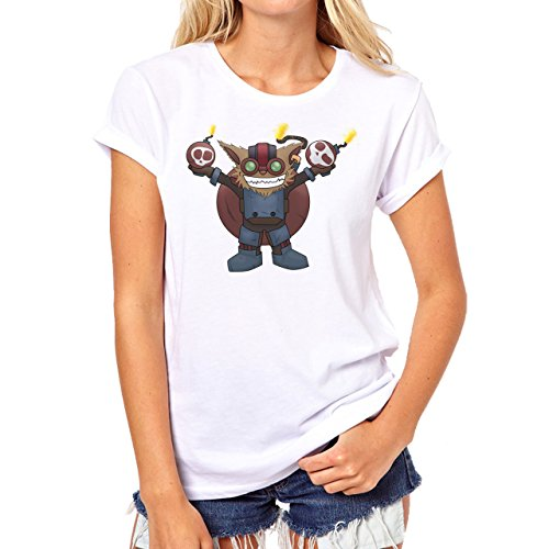 League Of Legends Champion Character Art Ziggs Damen T-Shirt Weiß