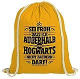 ShirtStreet Fanartikel Fan Kult Film natur Turnbeutel Rucksack Gymsac Außerhalb von Hogwarts, Größe: onesize,gelb natur