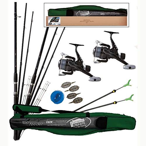 Lineaeffe top set feeder combo 2 canne da pesca + rulli + borsa + accessori