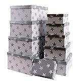 Markenlos Aufbewahrungsboxen/Schachteln im 10er Set mit Deckel Verschiedene Designs (Sterne in Silber)