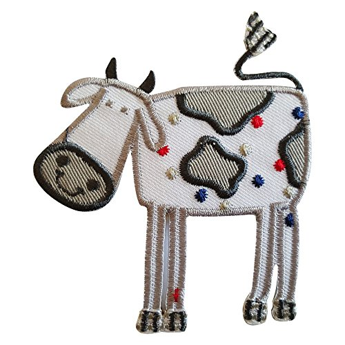 2 iron-on appliques set - Cow 8Cm High and Reindeer 6X9Cm embroidered application set by TrickyBoo Design Zurich Switzerland