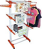 Ash & Roh Laundry Organizer Foldable 3 Tier Clothes Drying Rack Rolling Collapsible Laundry Dryer Hanger Stand Rail Indoor Outdoor