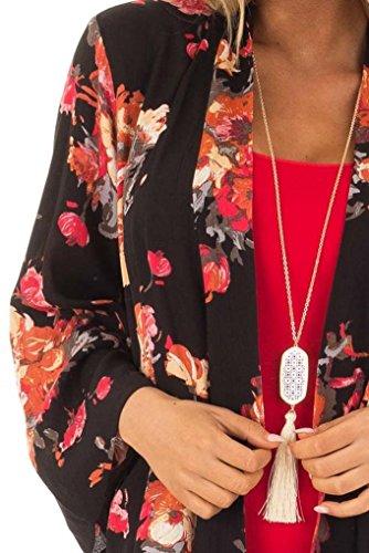 Frauen Sommer Plus Größe Strand Floral Chiffon Kimono Cardigans Cover Ups Wollmischung Lange PEA Coat mit Kapuze Sehr Komfortabel Sehr sch?NES Gefühl (XXXL, Schwarz) (Short Double Breasted Peacoat)