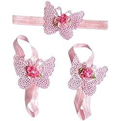 Bañador para bebé Infant Crochet mariposa punto diadema flor descalzo sandalias rosa rosa Talla:talla única