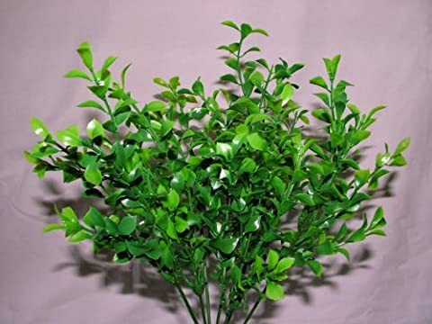 3 x Artificial Two-tone Waterproof Boxwood Topiary Bush - 7 stems each - Planters Hanging Baskets Garden Foliage Wedding by A1-Homes