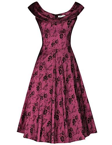 MUXXN Damen 1950er Boot-Ausschnitt Muster Hanhnentritt Party Swing Kleid(S, Burgundy1) (Cardigan Audrey)