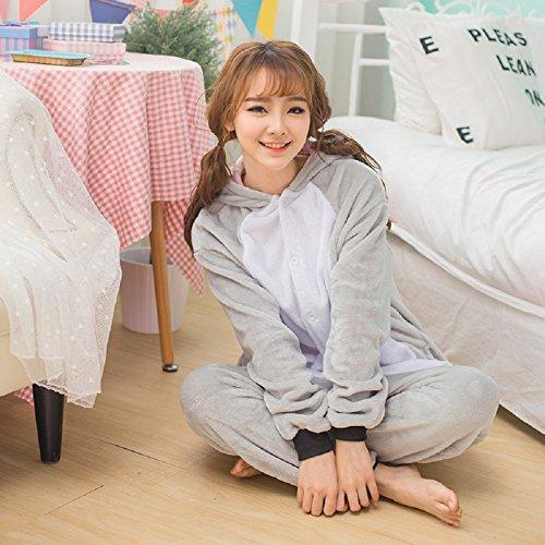 Unisex Einteiler-Pyjama, Erwachsene Flanell Schlafanzug, Tier-Schlafanzug Onesie Koala-Bär L - 4