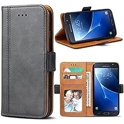 Bozon Coque Galaxy J7 2016, Housse pour Samsung Galaxy J7 (2016) en Cuir Portefeuille Etui avec Fentes de Cartes, Fonction Support, Fermeture Magnétique (Gris Foncé)