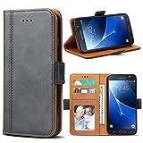 Bozon Galaxy J5 2016 Hülle, Leder Tasche Handyhülle Flip Wallet Schutzhülle für Samsung Galaxy J5 (2016) mit Ständer und Kartenfächer/Magnetverschluss (Dunkel-Grau)