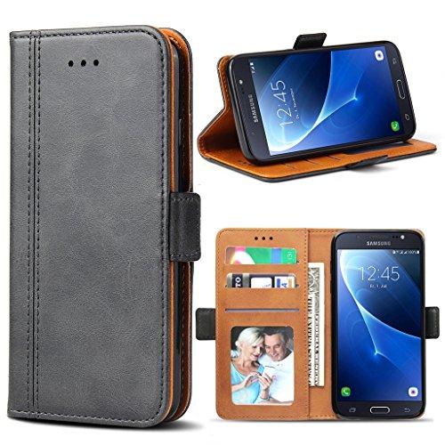 Bozon Galaxy J5 2016 Hülle, Leder Tasche Handyhülle Schutzhülle für Samsung Galaxy J5 (2016) Flip Wallet mit Ständer und Kartenfächer/Magnetverschluss (Dunkel-Grau)