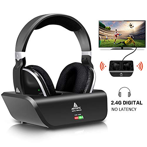 Yuanj Cuffie TV Wireless, Cuffie Senza Fili Over-Ear per TV con trasmettitore RF da 2,4 GHz, Dock di Ricarica, Portata Wireless 30m e No latenza e 20H Playtime per TV/PC/Mobile