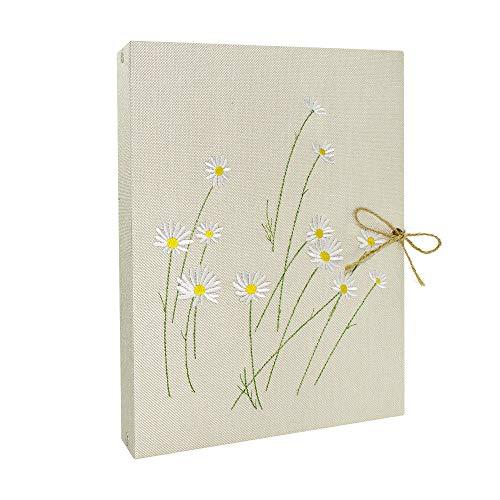 Veesun album fotografico, fiori ricamati in lino scrapbook libro nero libro di memoria fai da te regali di compleanno di san valentino, regali di anniversario di matrimonio per donne mamme, beige