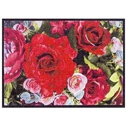 Fußmatte Blumenstrauß 50x70 cm groß, Waschbar für Außen Innen, Romantische Schmutzfangmatte Bunt Rutschfest ohne Trittrand, Teppich für Haustür Flur Wohnzimmer Blumen-Strauß Rosen Fußabtreter Geschenk