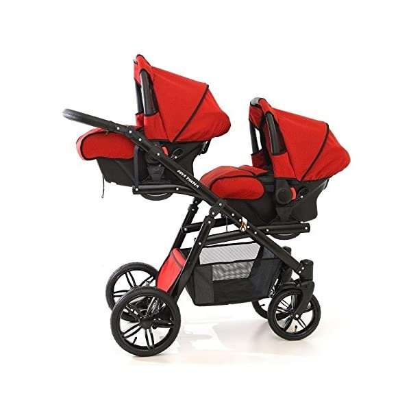 Double pram for twins. 2 carrycots + 2 buggies + 2 car seats + 2 ISOFIX bases. Jeans. BBtwin Berber Carlo Directly from the factory, warranty and advice. Made un the EU according to the regulations EN1888 and ECE44/04. Jeans+white, white chassis. Includes 2 carrycots, 2 buggy seats, 2 car seats, 2 ISOFIX bases, bag, 2 footcovers, 2 rain covers, 2 mosquito nets, lower basket Features: lightweight aluminium frame, easy bending, adjustable handlebar, central brake, lockable front swivel wheels, shock absorbers, each buggy can be instaled independently in both directions, carrycots with a mattress and a washable cover, backrest adjustable in various positions, safety bar and harness of 5 points 7