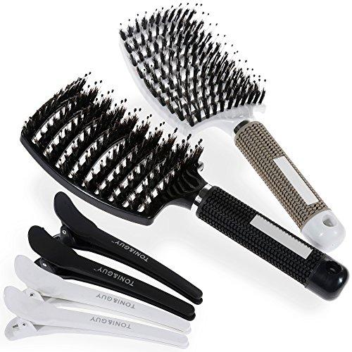 Lictin 2 PCS Haarbürste Wildschweinborste mit 4PCS Haar Klammer Bürste für Dünnes Haar Haarbürste für Damen Herren Hairstyle Hilfe