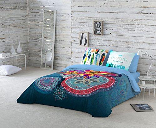 NATURALS Juego De Funda Nórdica Ariana Azul Cama 150 (240 x 220 cm + 2/45 x 90 cm)