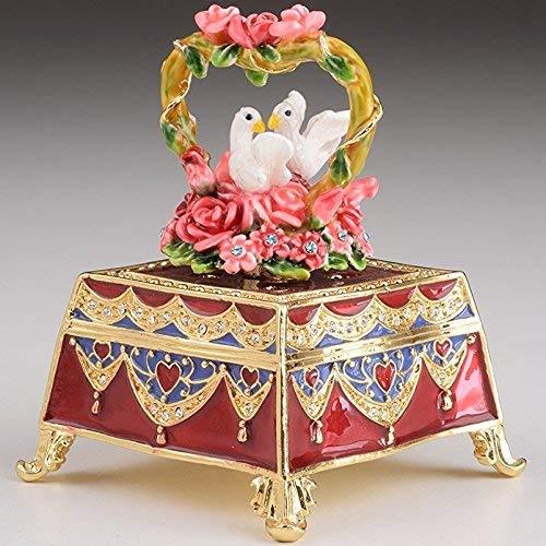 Rot dekorierten Box mit Rosen und zwei weißen Tauben Valentines Geschenk Schmuckdose im Fabergé-Stil