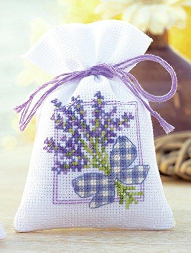 Vervaco Zählmuster Lavendel mit Schleife Kräutertütchen-Stickpackung im gezählten Kreuzstich, Baumwolle, Mehrfarbig, 8 x 12 x 0.3 cm - Kreuzstich Schleife