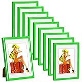 WOLTU #315 Bilderrahmen Bildergalerie Fotogalerie mit Passepartout, Foto Collage Galerie, Kunststoff und Echtglas, New Life Style, Grün, 13x18 cm, 10er Set
