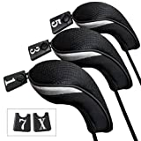 Andux 3pcs/Set Golf Driver Wood Head Covers with Interchangeable No. Tag Pack of 3