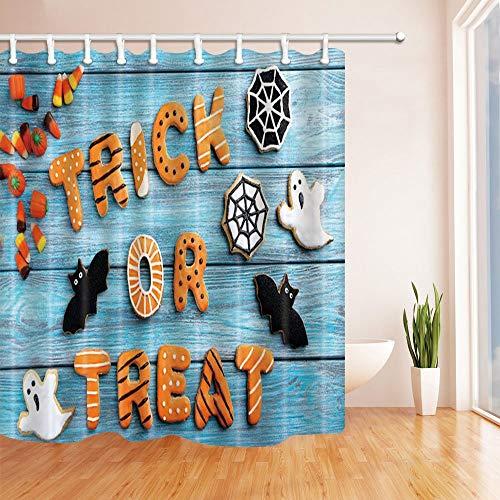 GAOFENFFR Halloween Dekor Süßes oder Saures und Geist Fledermäuse auf Türkis Holz Duschvorhänge Bad 180X180 cm