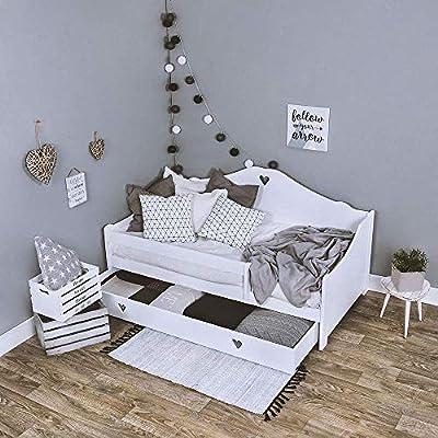 LULU SOPHIE - Cama infantil completa con colchón de 160 x 80 cm y somier y cajón, para niños a partir de 2 años, color blanco
