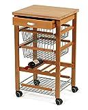 Arredamenti Italia Küchenwagen ARTURO, Holz - 3 Körbe - Schublade - Farbe: Kirsche holz