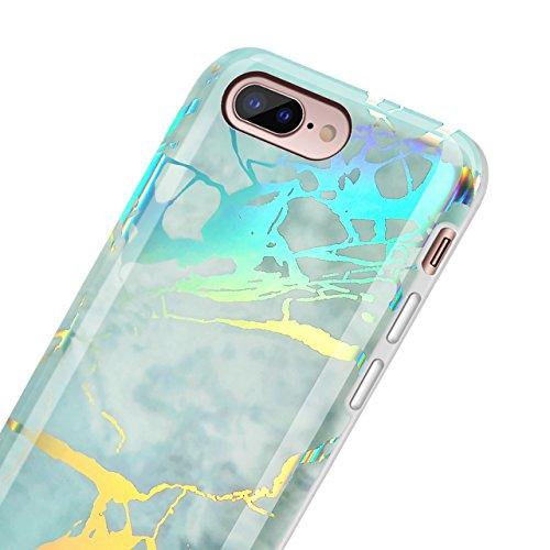 """Case avec Marble Effect Naturel pour iPhone 7 Plus(5.5"""") , Sunroyal Marble Pattern Dual Layer PC Souple Silicone TPU Coque Shell Flexible Soft Caoutchouc Gel coquille Etui Housse Motif Marbre Grain Ba Couleur 04"""