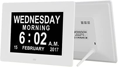 Mobestech Electronic Digital Alarm Clocks Display with Calender Wall Mounted Night Light for Office Bedrooms Dormitory Travel 8 inch with UK Plug (White)