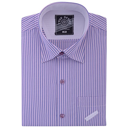Your Desire Shirts Men Cotton Purple and Blue Formal Shirt (Size 42)