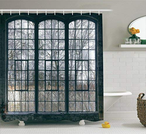 Hall Tree Set (Industrial Decor Collection, Old Large Window with Broken Panes in a Deserted Hall Near Forest Trees Winter Time Style, Polyester Fabric Bathroom Shower Curtain Set with Hooks, Grey)