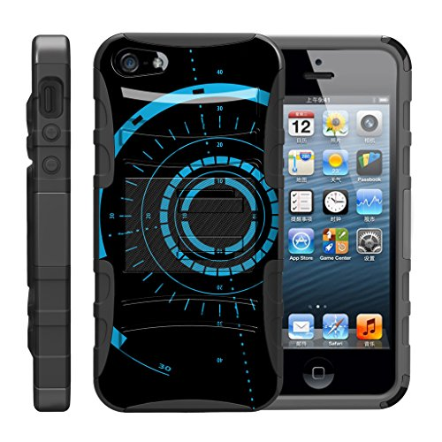 TurtleArmor Schutzhülle für Apple iPhone SE, iPhone 5 / 5S, stoßfest, aus Silikon, mit Ständer, für Sport und Videospiele, Blue Tron Target